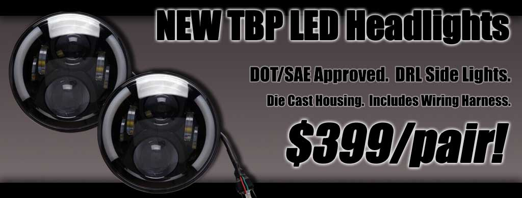 TBP Brand LED Headlights with Heavy Duty Wiring Harness