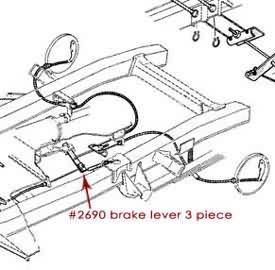 Emergency Brake Lever - 3 pc, 66-76 Ford Bronco, New