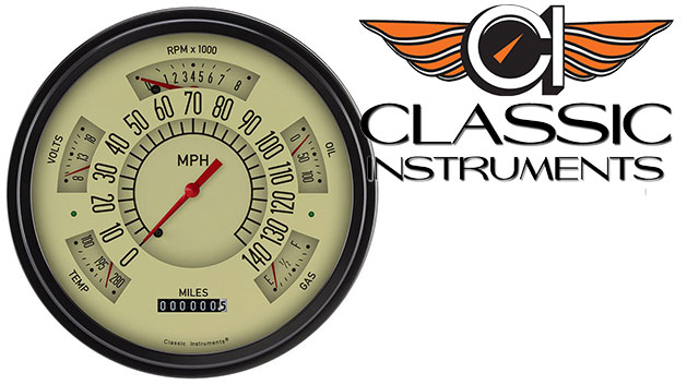 CLASSIC INSTRUMENTS Gauge Cluster - 66-77 Bronco, Tan Face