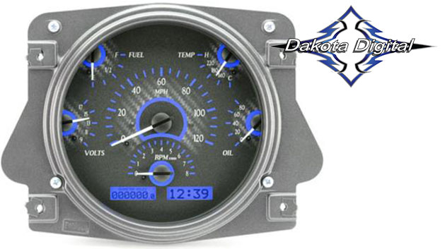 VHX Series Digital/Analog Speedometer Display - Carbon Fiber Face w/Blue Backlight