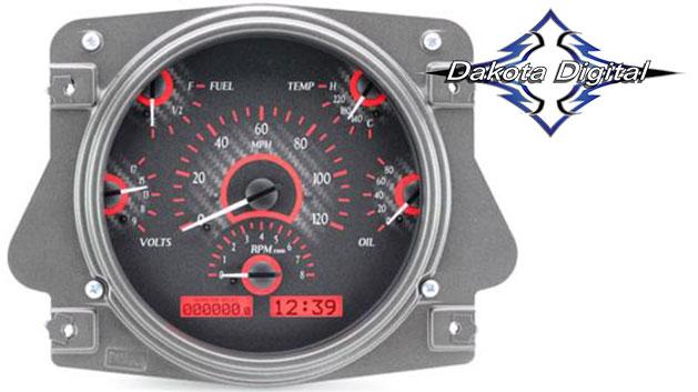 VHX Series Digital/Analog Speedometer Display - Carbon Fiber Face w/Red Backlight