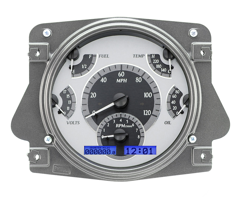 VHX Series Digital/Analog Speedometer Display - Silver Alloy Face w/Blue Backlight