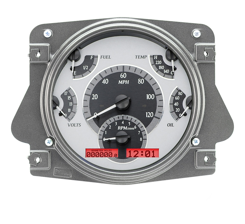 VHX Series Digital/Analog Speedometer Display - Silver Alloy Face w/Red Backlight