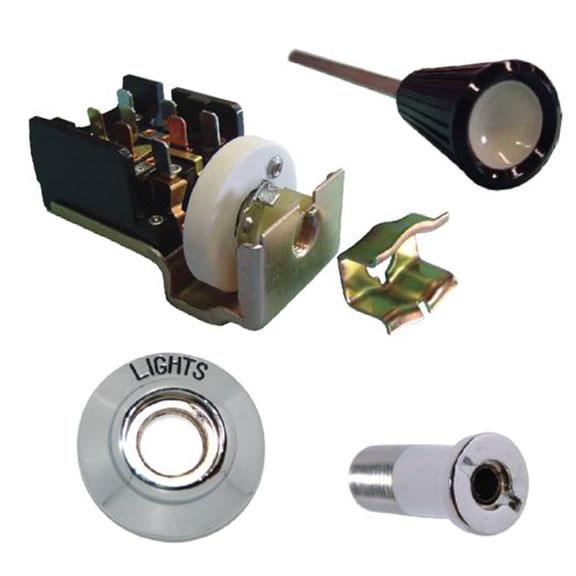 Headlight Switch Kit w/Knob, Bezel & Bolt, 66-67 Bronco
