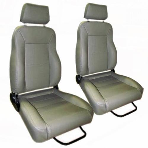 Custom Bucket Seats w/Brackets - Gray, Vinyl Denim (pair), Blemmed
