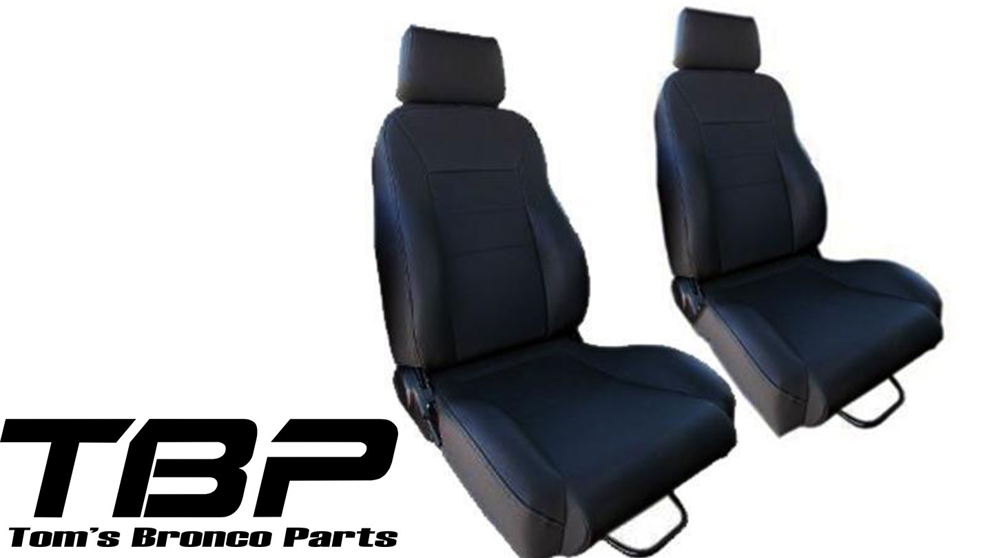 Custom Bucket Seats w/Brackets - Black, Vinyl Denim (pair)