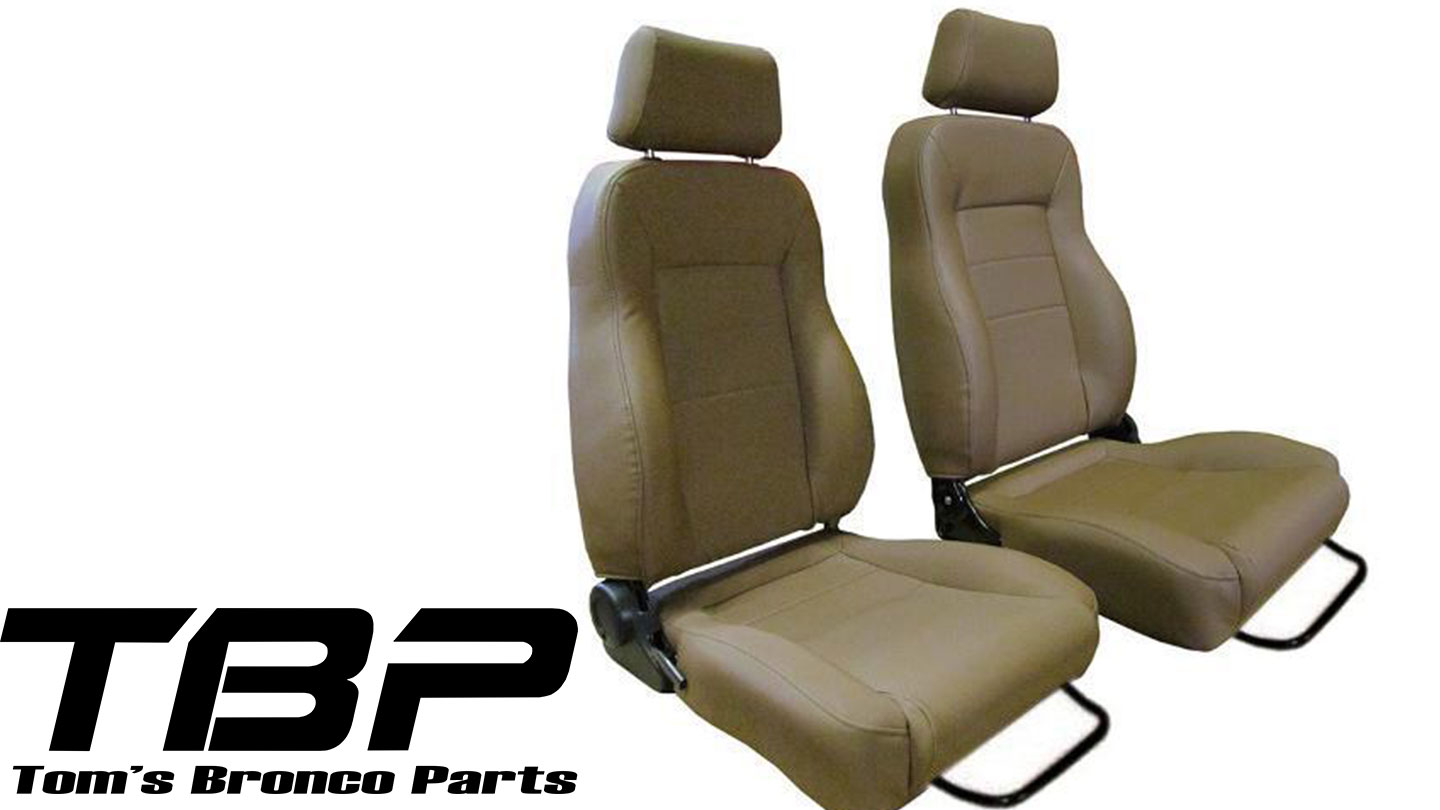 Custom Bucket Seats w/Brackets - Spice, Vinyl Denim (pair)