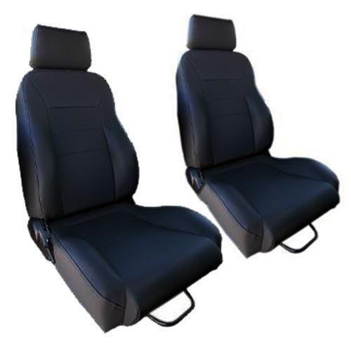 Black Bucket Seats w/o Brackets - Vinyl Denim, 65-96 Ford Trucks (pair)**