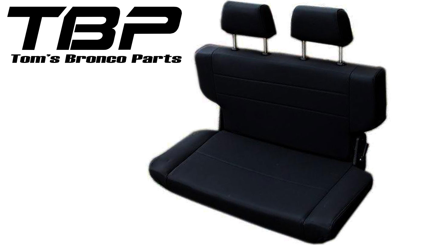 "Rear Bench Seat w/Headrests, Fold & Tumble, Black, 40"" Wide"