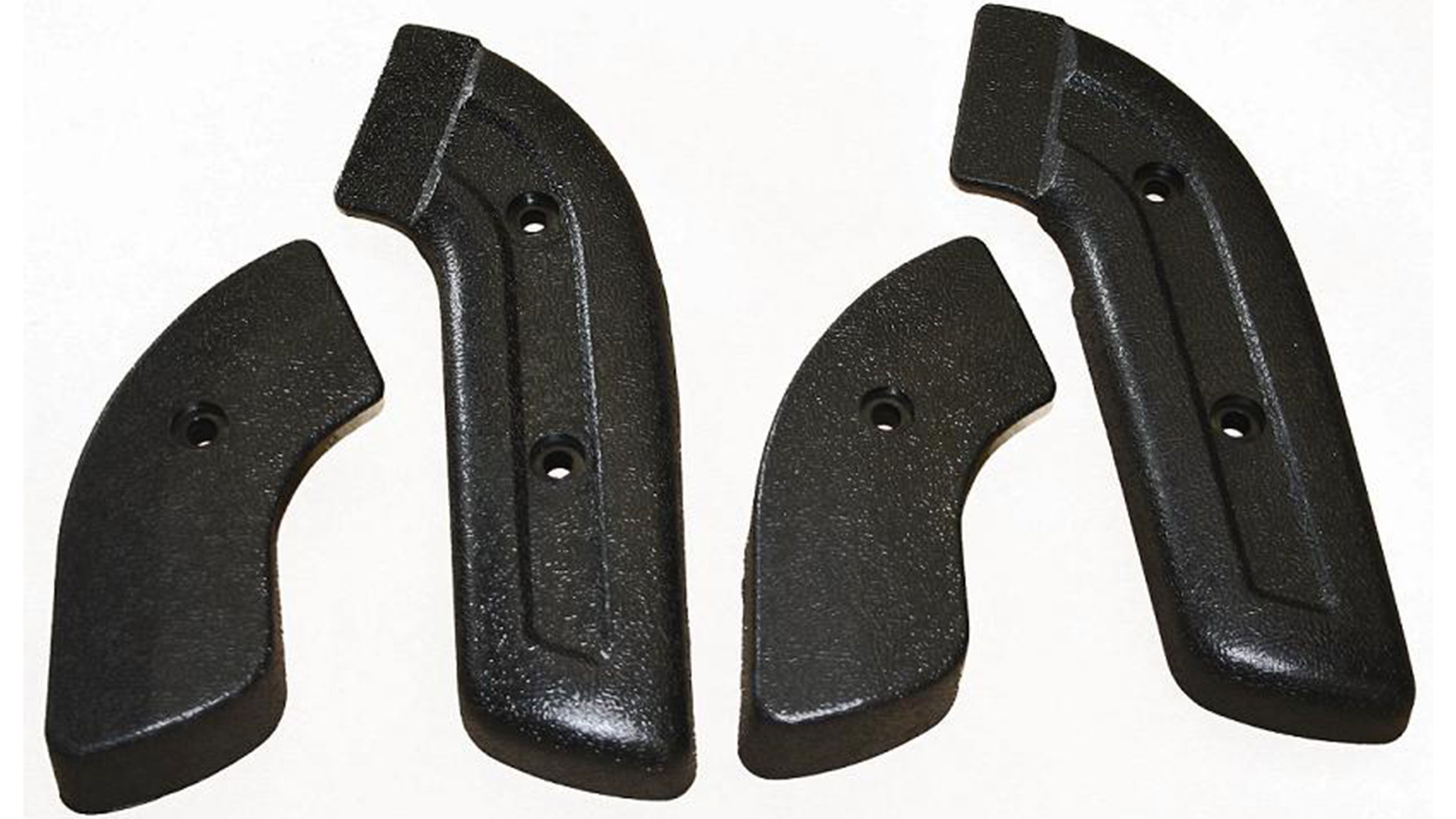 Front Bucket Seat Hinge Covers - Black, Full Set, 66-77 Ford Bronco, New