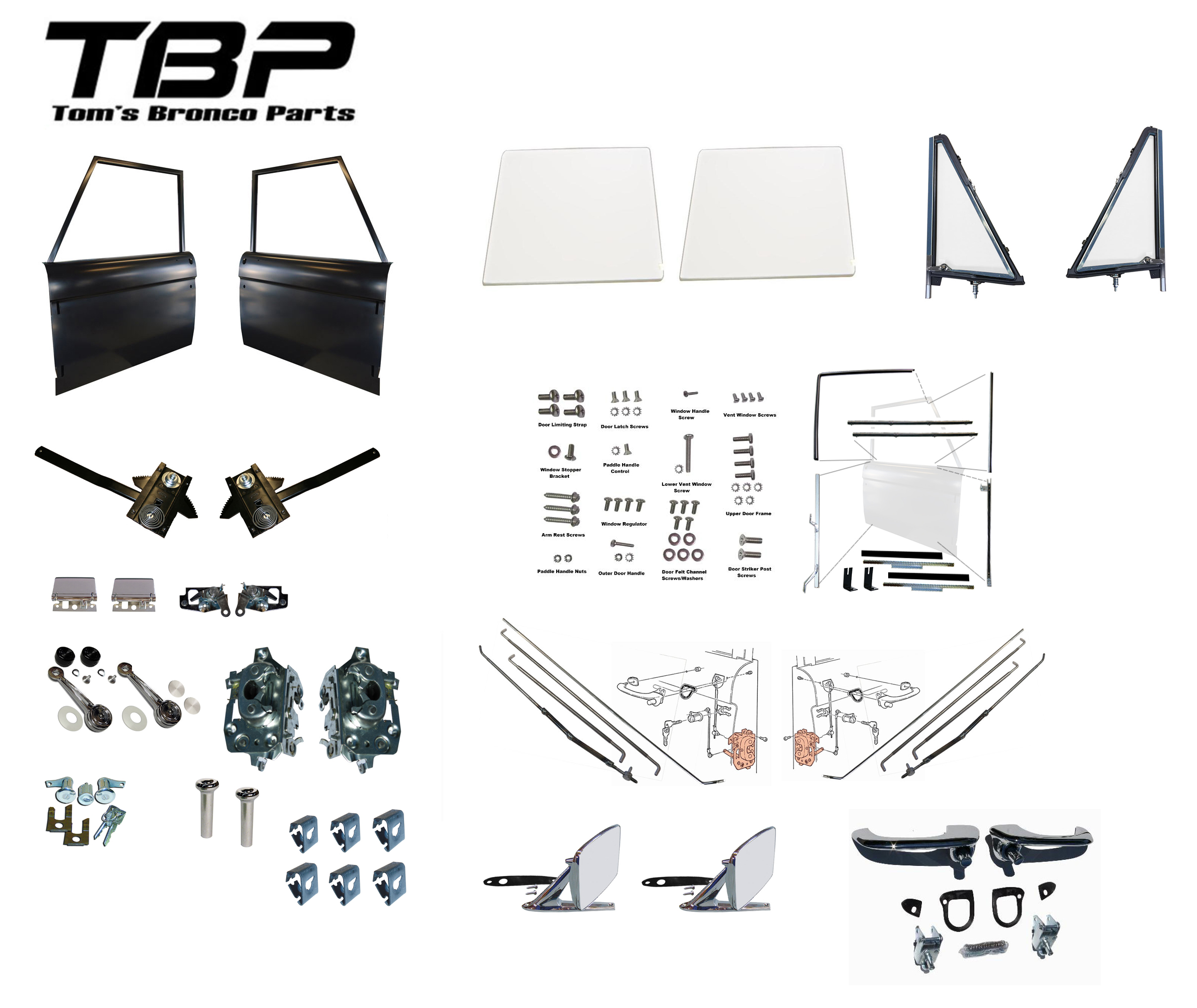 Complete Driver & Passenger Door Kit, 68-77