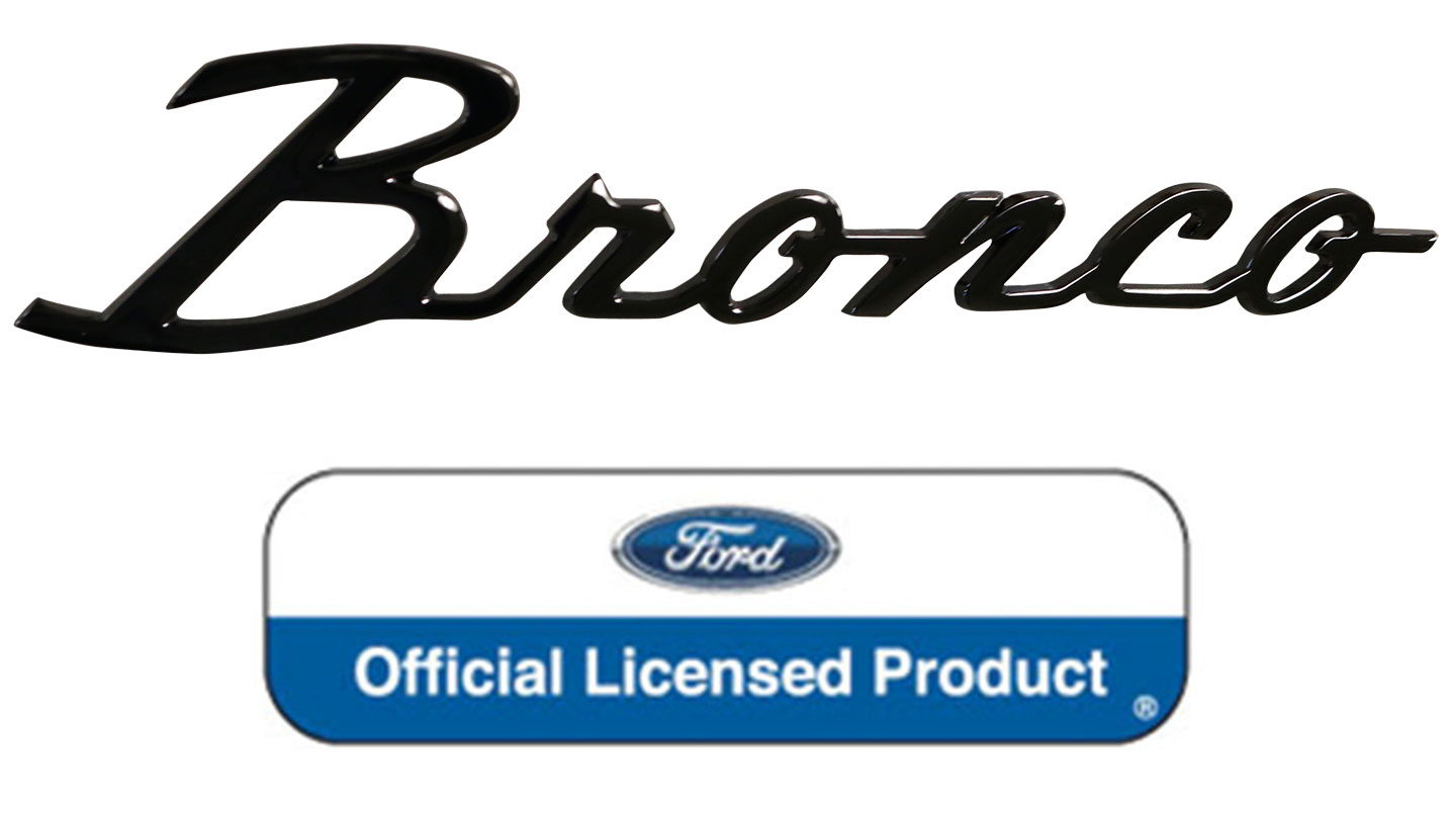 "Fender Script Emblem - ""Bronco"", BLACK CHROME, 66-77 Ford Bronco"