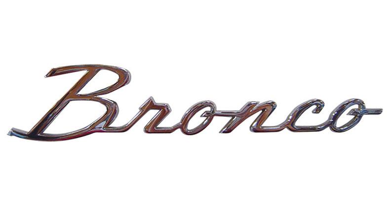 "Fender Script Emblem - ""Bronco"", 66-77 Ford Bronco, New (each)"