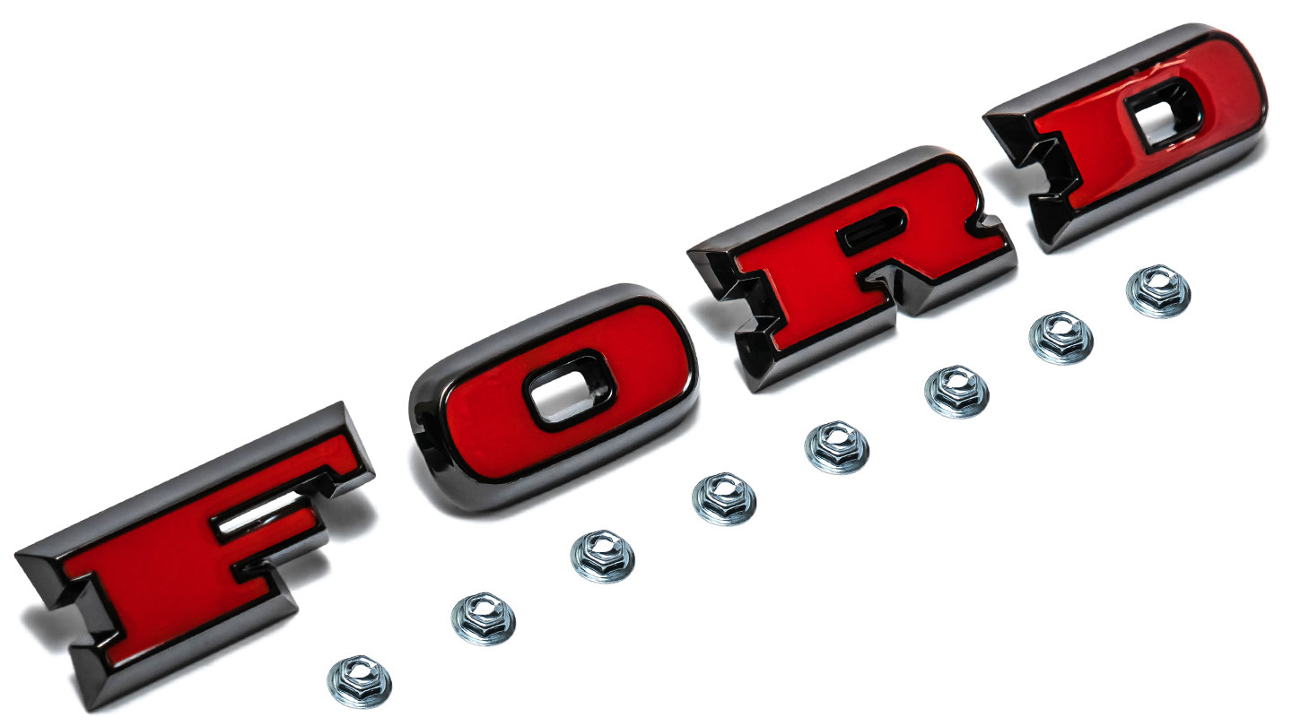 Ford Grill Letters - Black Chrome with Red Plastic Inserts