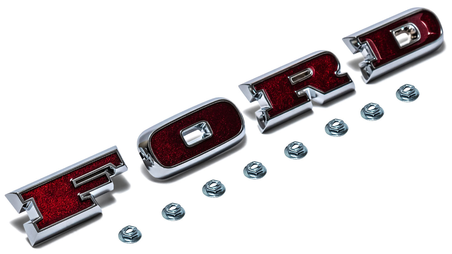 FORD Grill Letters w/Lock Nuts - Deep Red, Hi-Definition