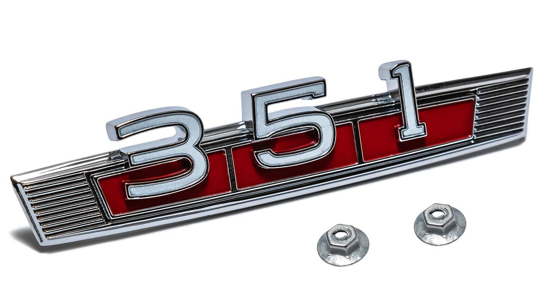 Fender Script - Engine, 351 w/Red Background