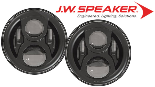 JW Speaker LED Headlights w/Black Finish - 66-77 Ford Bronco, PAIR