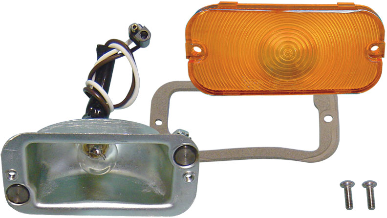 Turn Signal Bucket w/Amber Lens, Gasket & Bulb, 66-68 Ford Bronco, Alternate Style