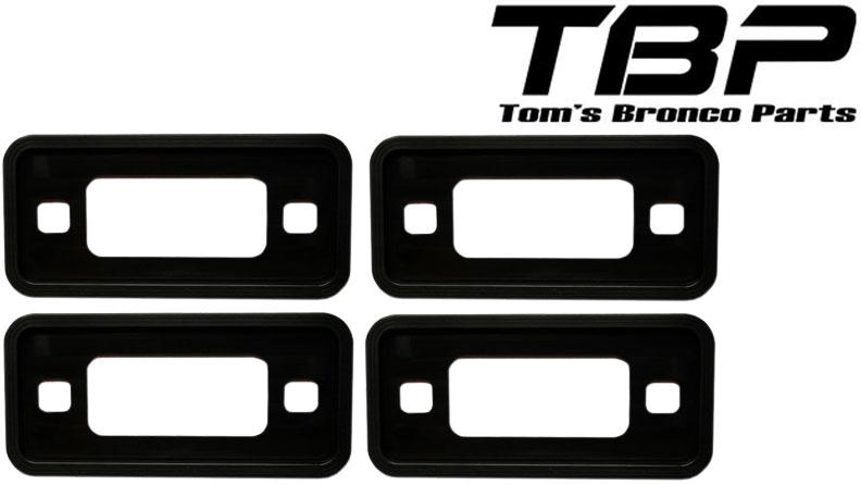 Billet Black Aluminum Side Marker Lens Trim Bezels, 70-77 Ford Bronco