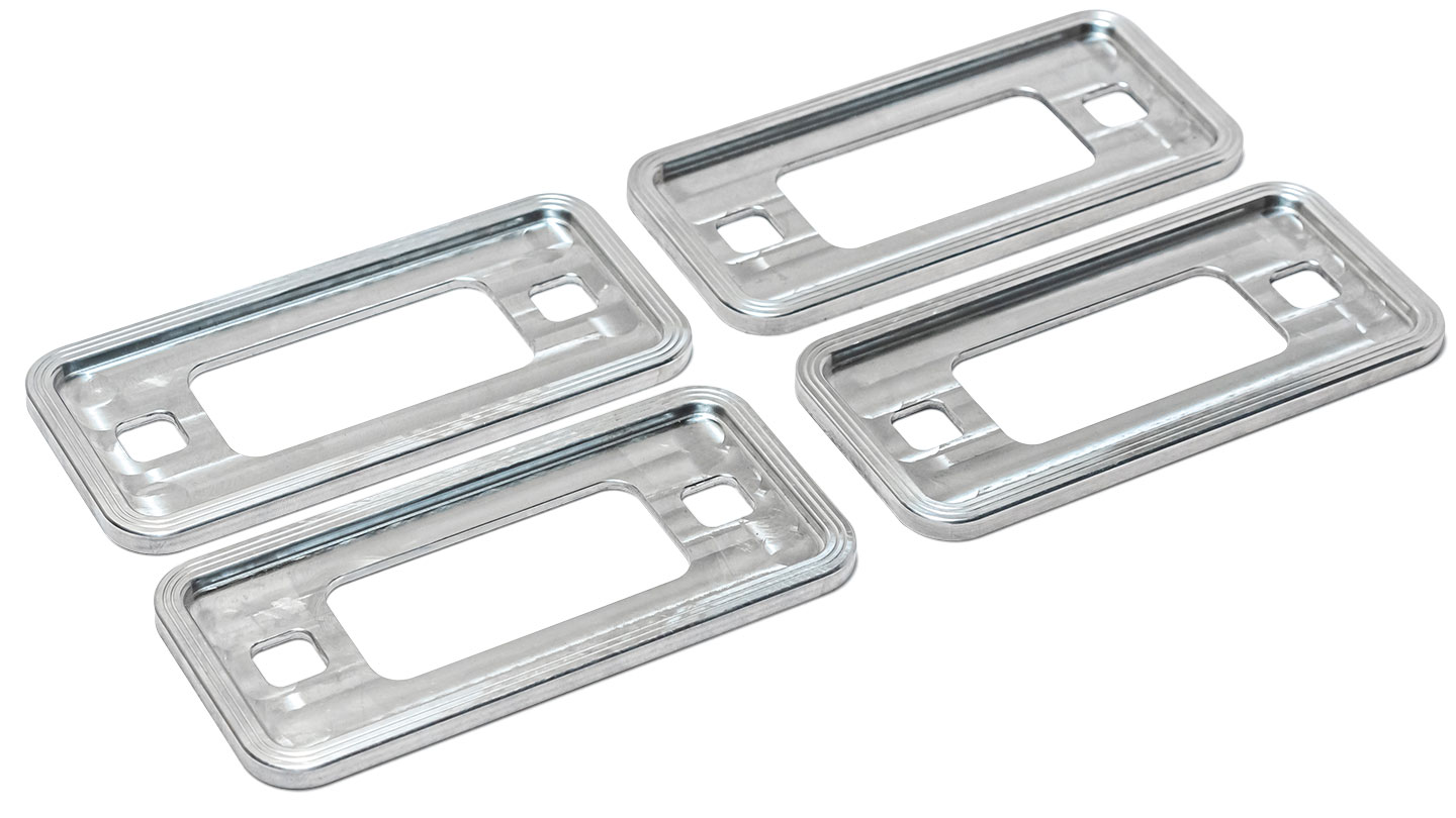 Billet Aluminum Side Marker Lens Trim Bezels, 70-77 Ford Bronco