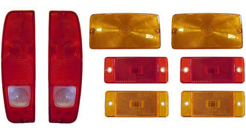 Complete Outer Lens Kit - Taillights, Side Markers, Turn Signals, 70-77 Ford Bronco