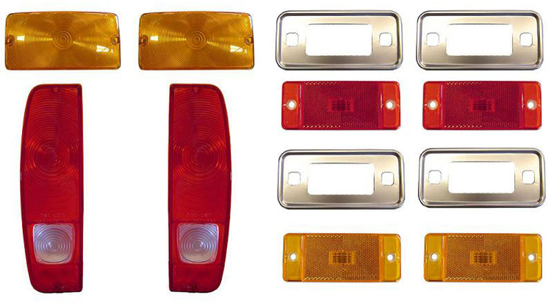 Complete Outer Lens Kit - Taillights, Side Markers w/Bezel, Turn Signals, 70-77 Ford Bronco
