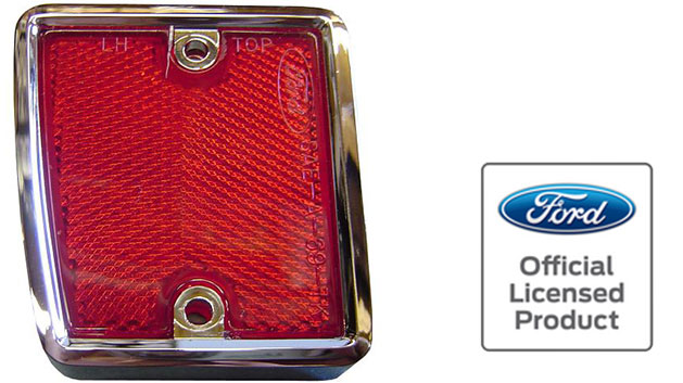 Reflector w/Chrome - Driver, Rear, 70-77 Ford Bronco (each)
