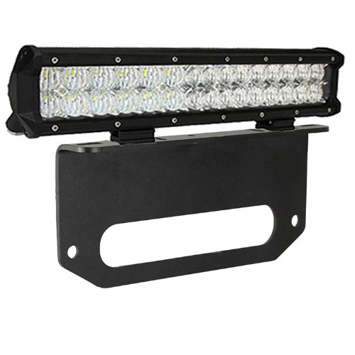 "15"" Dual Row LED Light Bar w/Winch Fairlead Mount"
