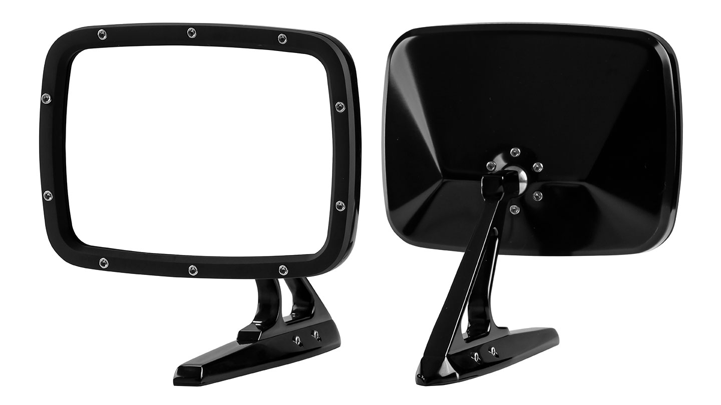 Billet Rides Rectangular Side Mirrors - Gloss Black, Pair