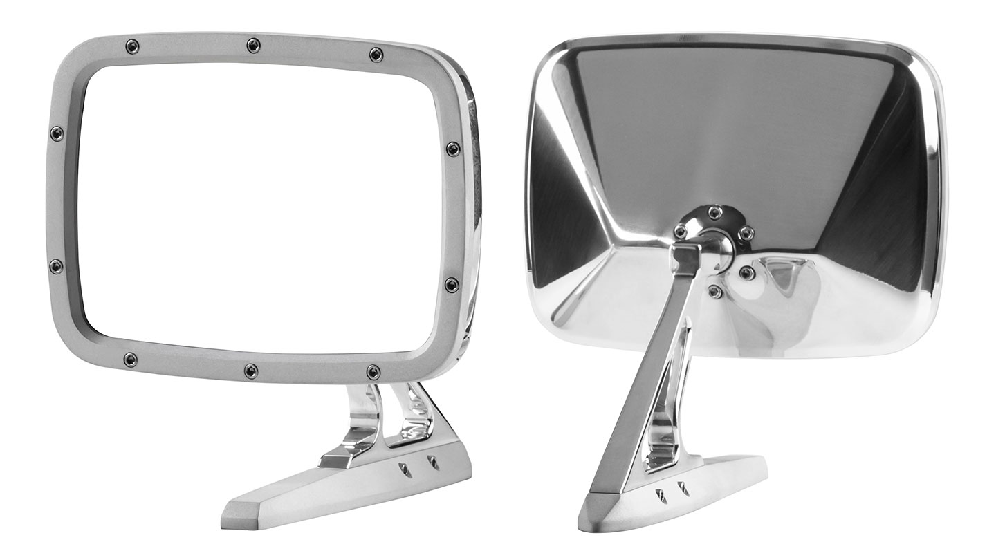 Billet Rides Rectangular Side Mirrors - Matte/Polished, Pair