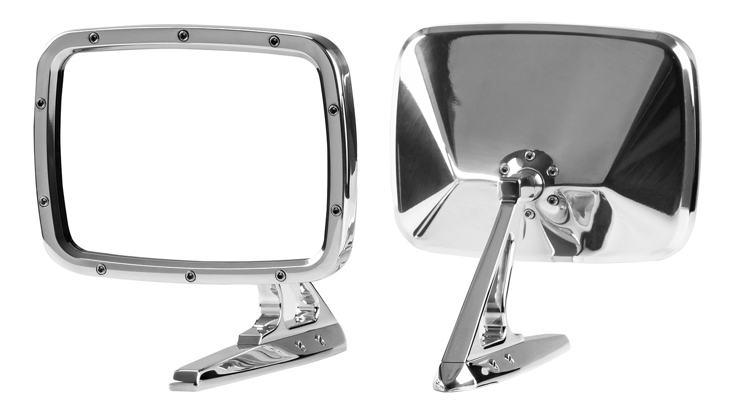 Billet Rides Rectangular Side Mirrors - Polished Aluminum, Pair