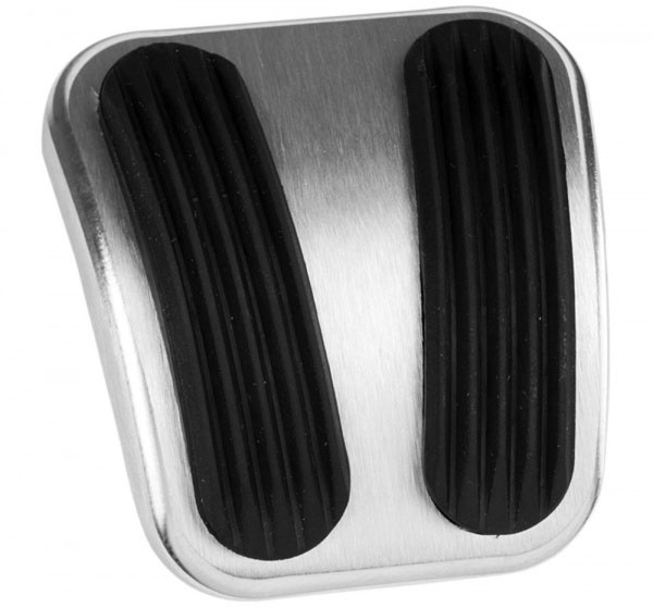 Emergency Brake Pedal Pad - BLACK Billet Aluminum w/Rubber Grips