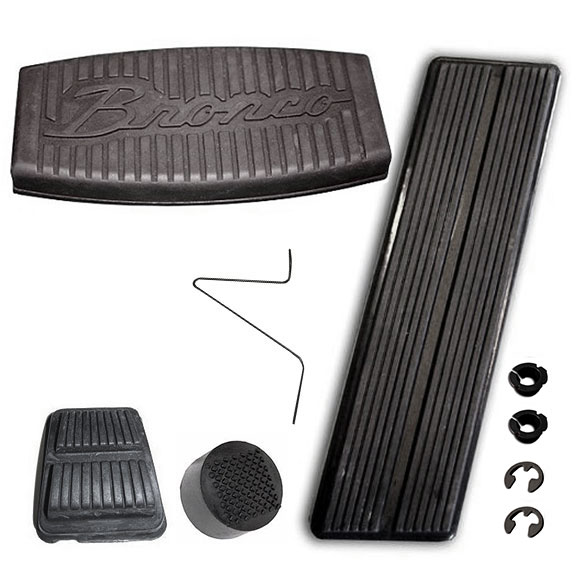 Pedal Pad Kit - SCRIPT Style for Automatic w/Disc Brakes, 76-77 Bronco, New