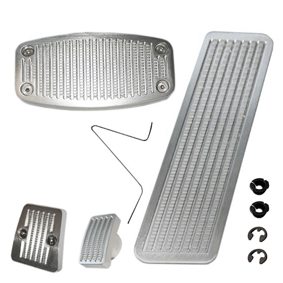 Pedal Pad Kit - BILLET Style for Automatic w/Disc Brakes, 76-77 Bronco, New