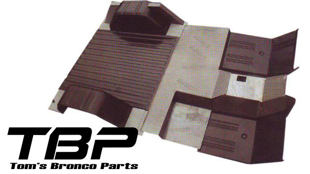15-piece Full Floor Pans Replacement Kit, 66-77 Ford Bronco, New