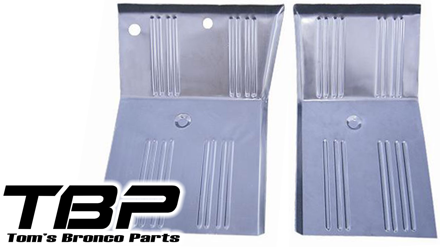 Front Floor Pan Repair Kit, OEM Style, Ribbed, Winged (pair)