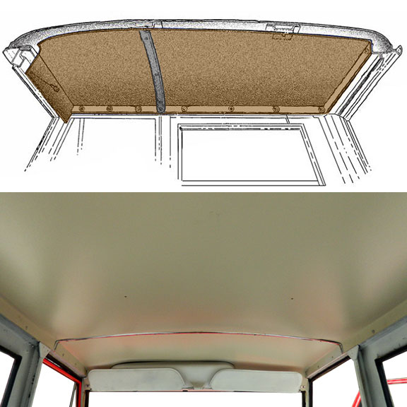 Headliner for Electric Wipers - Parchment White, 69-77 Ford Bronco, Slight Crease