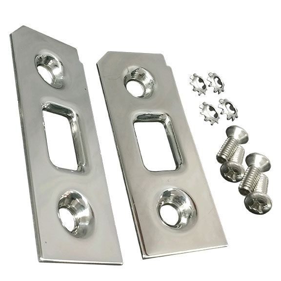 Liftgate Latch Striker Plates - Stainless Steel, 69-77 Ford Bronco, pair