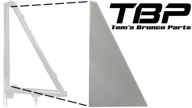TINTED Vent Window Glass, OE Quality, 66-77 Ford Bronco, New (each)