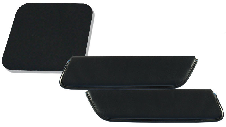 Sunvisors for Electric Wipers - Black Vinyl, 69-77 Ford Bronco, Pair
