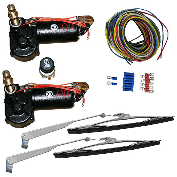 DELUXE Dual Wiper Motor Conversion Kit w/Wiring Harness, Wiper Arms & Blades