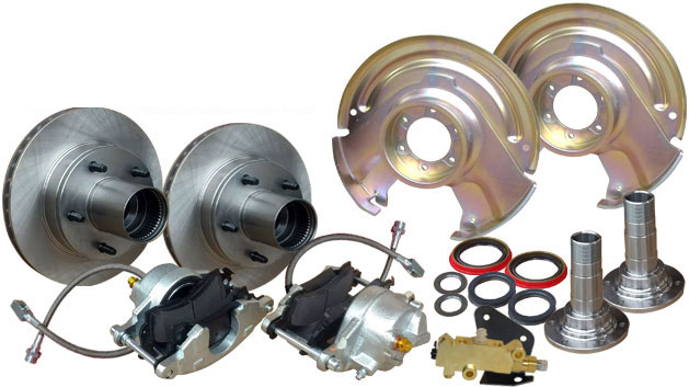 Front Disc Brake Conversion Kit w/Prop Valve & Bracket -  Dana 30/44, 66-75 Ford Bronco