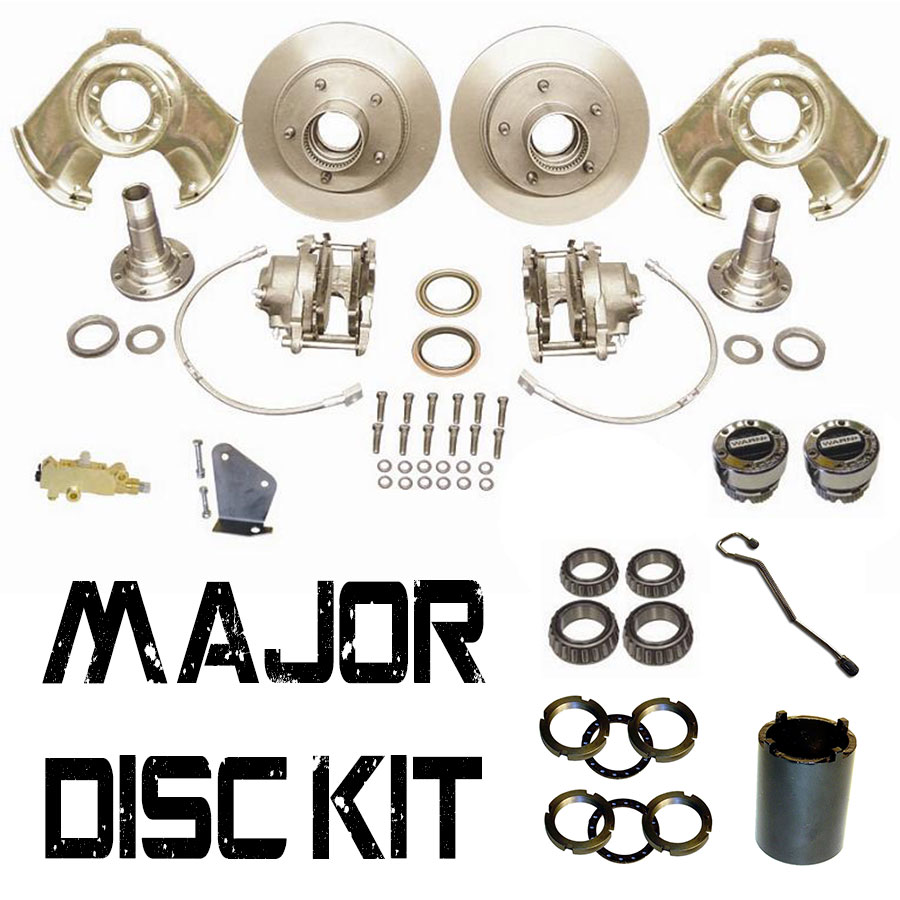 Disc Brake Major Kit - Dana 30 & 44, Prop Valve & Bracket, Warn Hubs, Wheel Bearings, 66-75 Ford Bronco