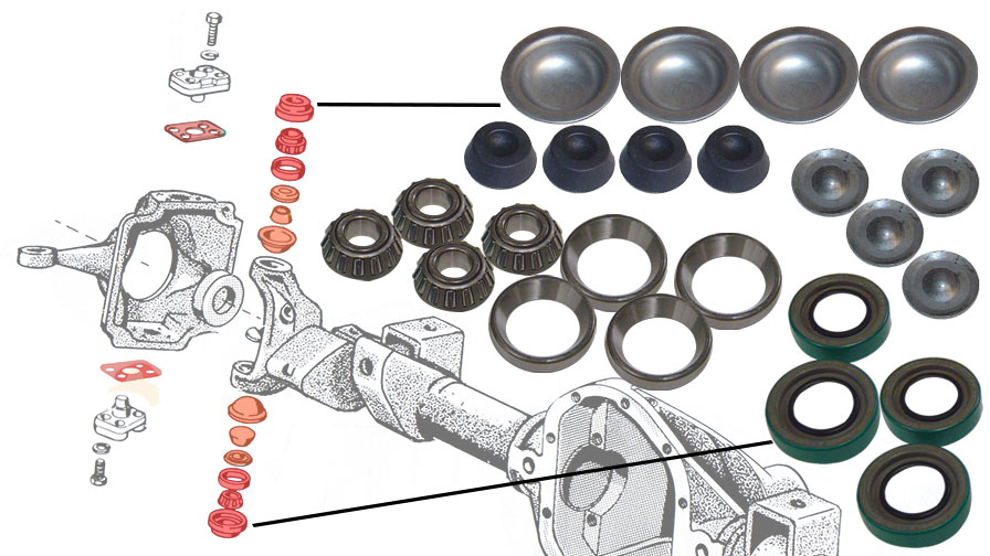 MAJOR Dana 30 Knuckle Rebuild Kit - Front (for two sides), 67-71 Ford Bronco
