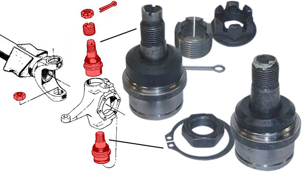 Ball Joints - Dana 44, Upper and Lower (one side), 72-77 Ford Bronco