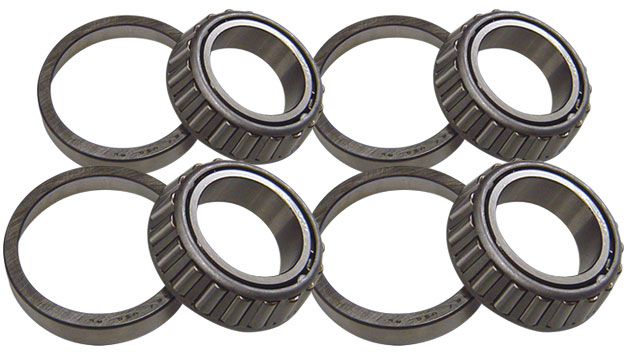Front Inner & Outer Wheel Bearings & Races, Set of 4