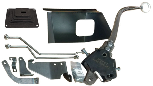 Manual 3 Speed Hurst Floor Shift Kit w/Boot & Tunnel Cover, 6 cylinder