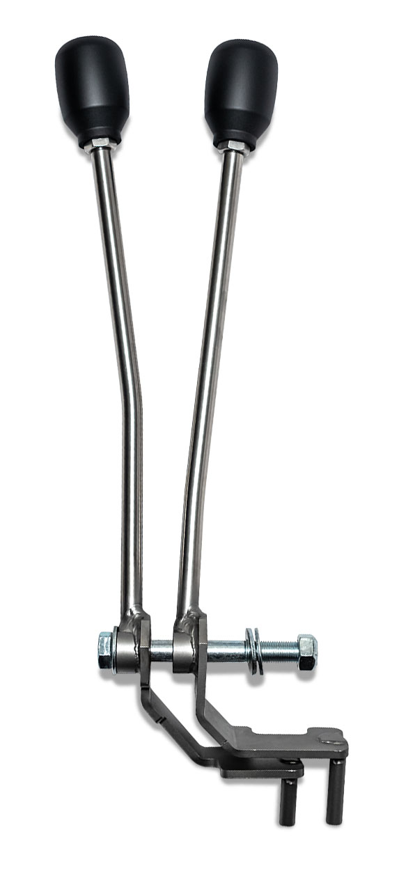 Twin Stick Shifter - Dana 20 J-style, Stainless Steel, 73-77 Ford Bronco