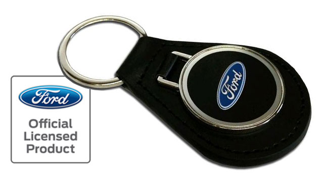 Leather Key Fob Keychain w/FORD Logo Emblem