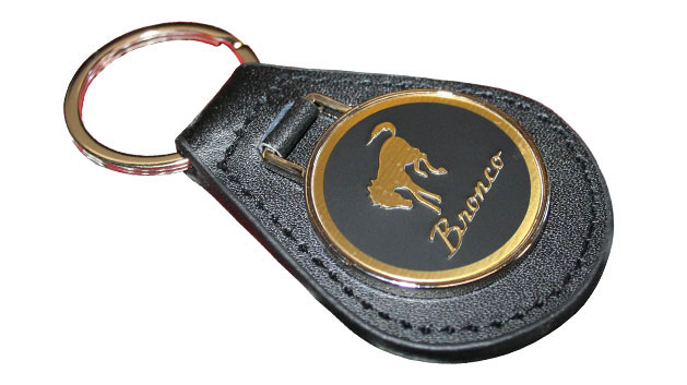 Leather Key Fob Keychain w/Bronco Script Emblem, 66-96 Ford Bronco